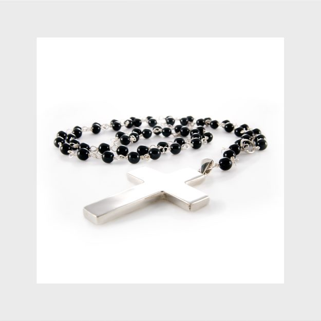 Long Onyx & Sterling Silver Cross Necklace