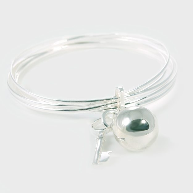 Multi Bangle with Sterling Silver Harmony Ball and Key
