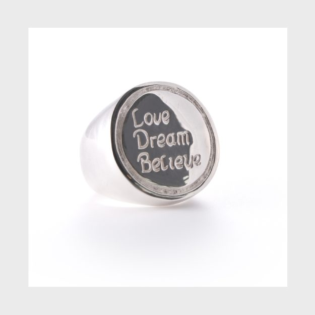 "Sterling Silver ""Love Dream Believe"" Inspirational Ring"