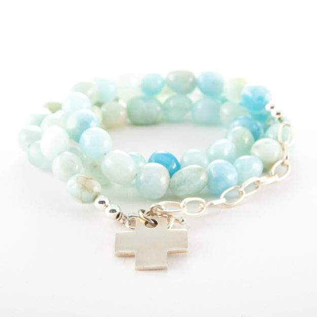 Aquamarine Wrap Bracelet with Sterling Silver Cross