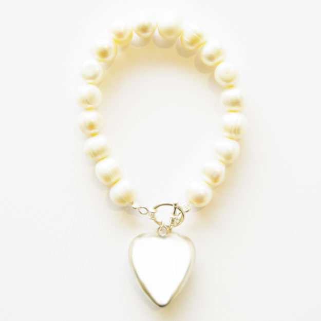 Freshwater Pearl Bracelet with Large Sterling Silver Puffed Heart