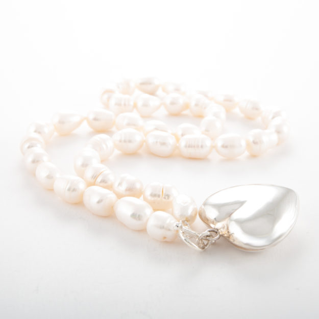Freshwater Pearl Necklace with Sterling Silver Puffed Heart