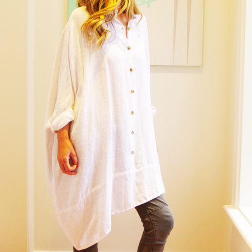Our Olivia Linen Shirt. Shown here in 100 percent pure linen. Also, cut on a slight angle, with large buttons and a comfy collar. As well as a casual oversized design and a free size relaxed fit for ladies' 10 to 16. Great to throw on over jeans. Available in 6 fabulous spring/summer colours. Blush Pink, Pale Blue, Mocha, Black, White & Navy. In short, our Olivia is the perfect self-indulgent purchase to add to this springs wardrobe. Or as a gift for someone very special.