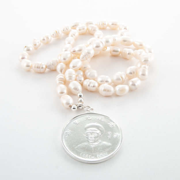 32-Inch Freshwater Pearl Necklace with Emperor Coin