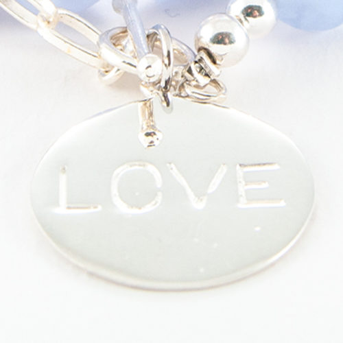 Authentic 925 Sterling Silver Love Disc Charm with Hand-Engraving.