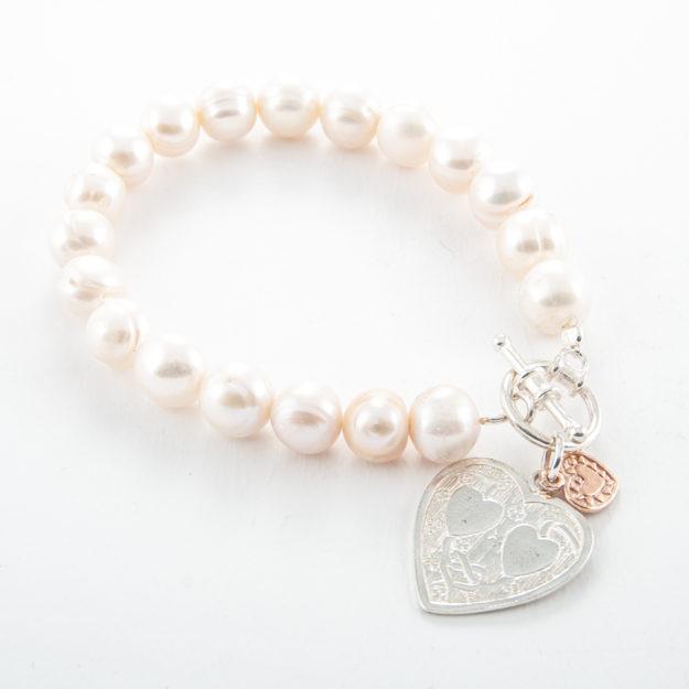 Freshwater Pearl Bracelet with Sterling Silver Double Flat Heart & Small Rose Gold Heart
