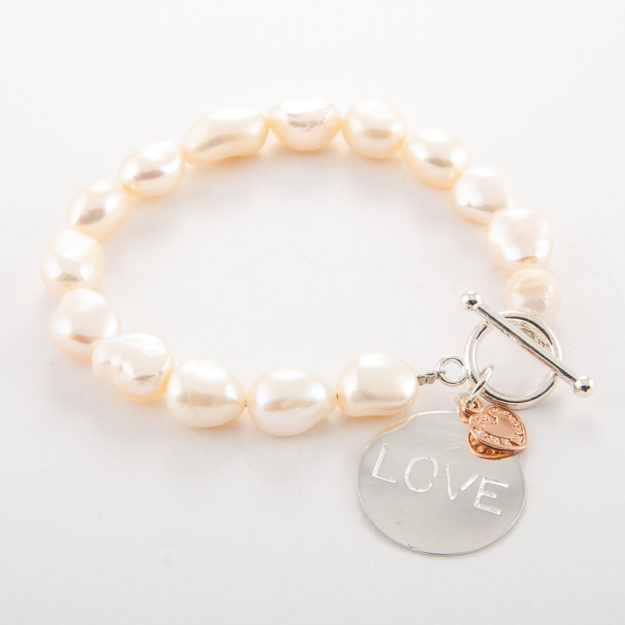 Freshwater Pearl Bracelet with Love Disc & Heart