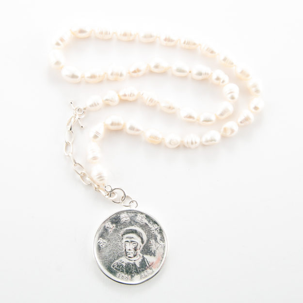 Freshwater Pearl Necklace with Sterling Silver Emperor Coin
