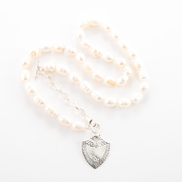 Freshwater Pearl Necklace with Sterling Silver Shield