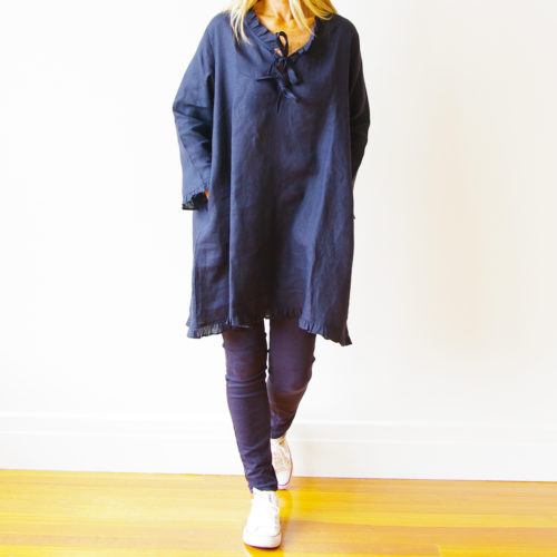 Navy Linen Dress/Top the Mitsi is available wholesale to lifestyle stores and boutiques.