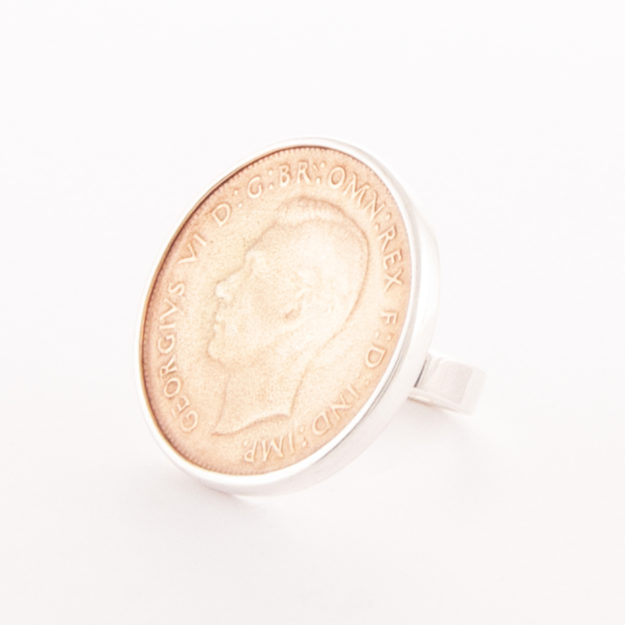 2 Tone Sterling Silver & Rose Gold King George Ring