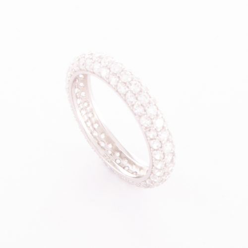 Cubic Zirconia Eternity Ring set in a unique Sterling Silver band with lots of beautiful sparkles.