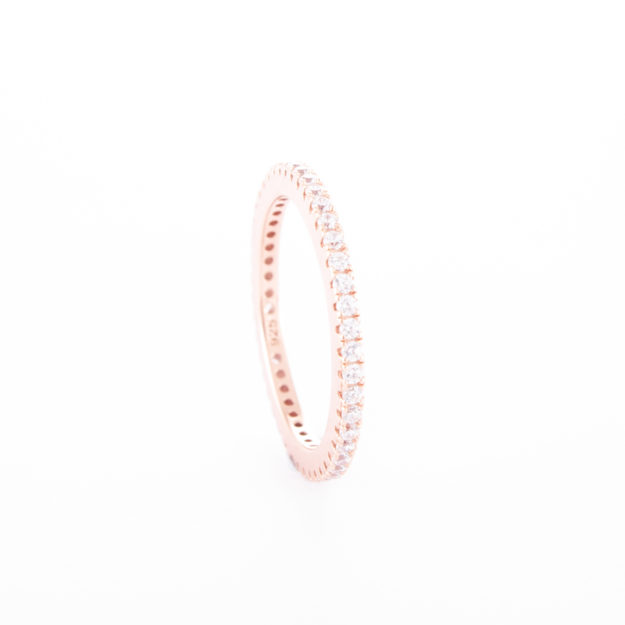 "Fine Rose Gold Cubic Zirconia ""Eternity"" Ring"
