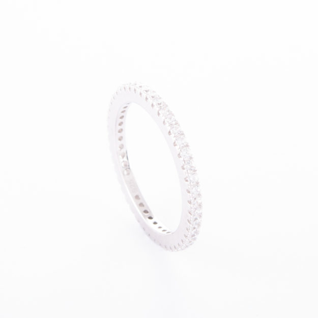 "Fine Sterling Silver Cubic Zirconia ""Eternity"" Ring"