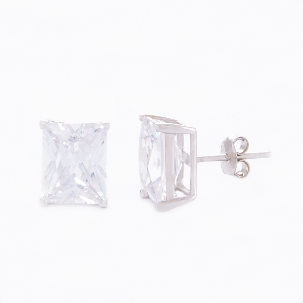Our Large Baguette Cubic Zirconia Stud Earrings. Shown here, with a beautiful big sparkling rectangular CZ, set in 925 sterling silver. In short, this pair of gems make a big statement! And, are the perfect gift for someone special.