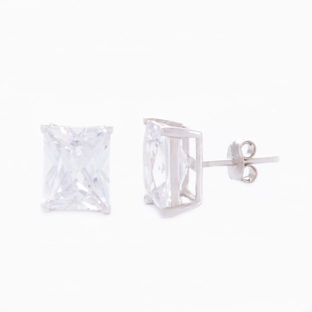 Large Baguette Cubic Zirconia Stud Earrings