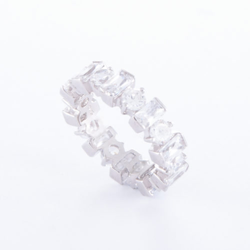 Our Cubic Zirconia Ring (Lilly), shown with rectangular and round CZ, is a truly unique piece. Set in a 925 sterling silver band.