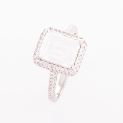 Stunning Sterling Silver Emerald-Cut Cubic Zirconia Ring