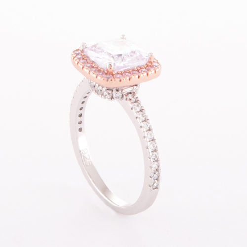 Sterling Silver Rose Gold Cubic Zirconia Princess Ring