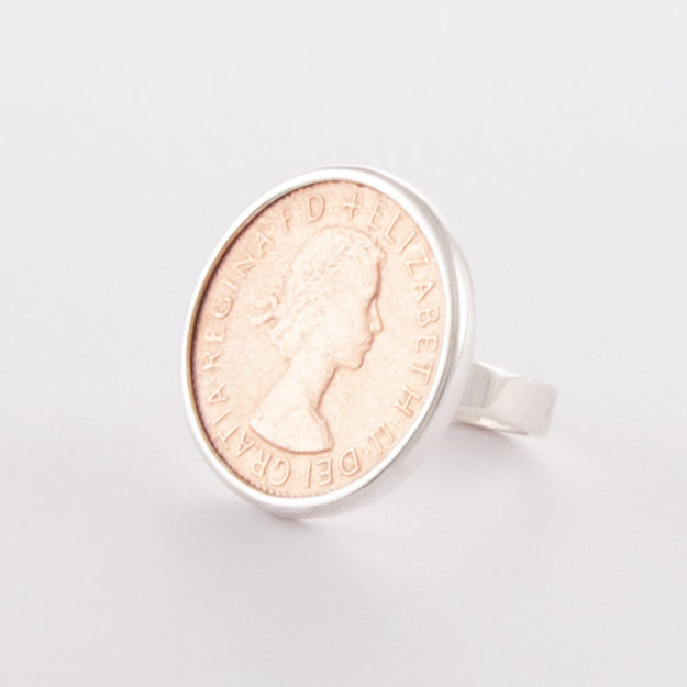 Sterling Silver & Rose Gold Half Penny Ring