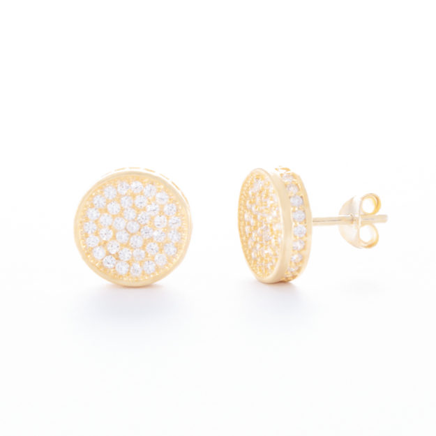 Circular Gold Cubic Zirconia Stud Earrings