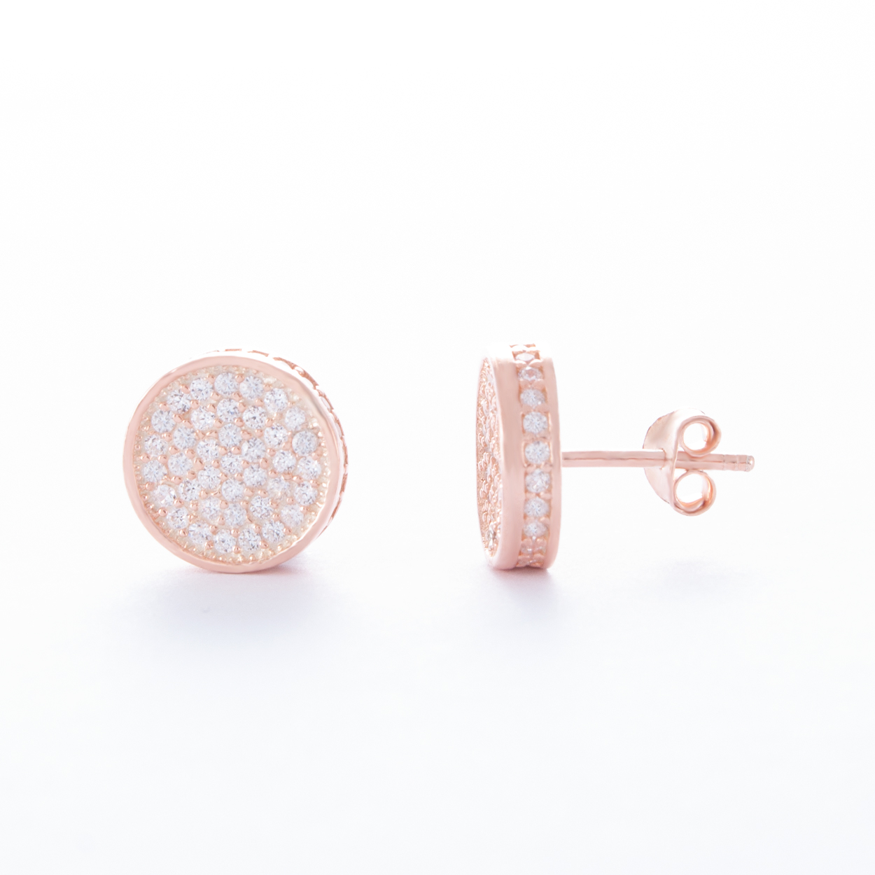 Circular-Rose-Gold-Cubic-Zirconia-Stud-Earrings