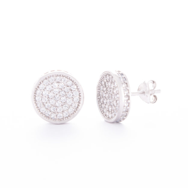 Circular Sterling Silver Cubic Zirconia Stud Earrings