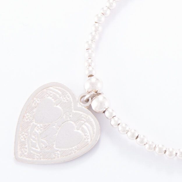 Double Heart Charm Sterling Silver Ball Bracelet