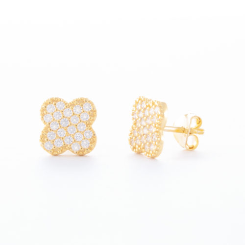 Our Gold Cubic Zirconia Clover Stud Earrings. Shown here, set with numerous small, stunning CZ on the four-leaved clover face. Beautifully plated over 925 sterling silver. In short, there's lots of luck in this little pair of gems! The perfect gift for someone special.