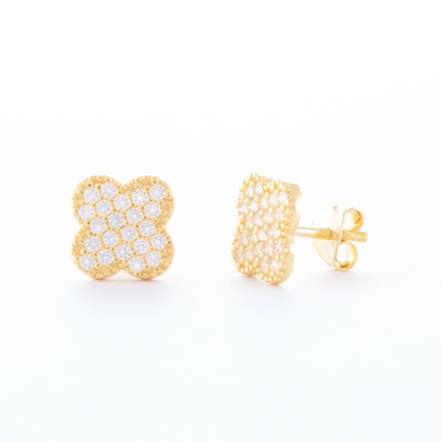 Gold Cubic Zirconia Clover Stud Earrings