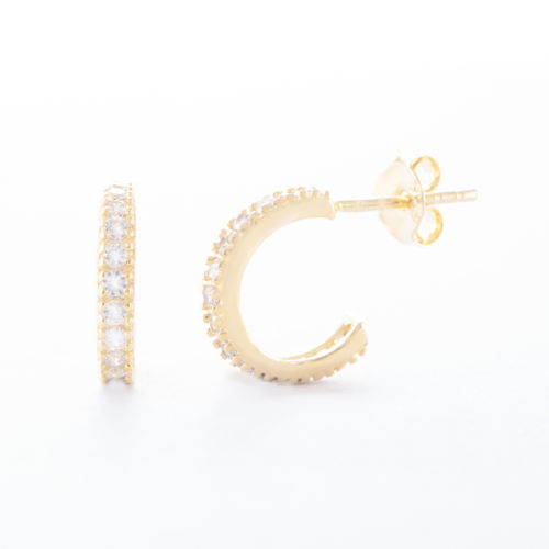 Our Gold Cubic Zirconia Eternity Hoop Earrings. Shown here, with 12 mm of numerous small, stunning CZ on the front face. Also beautifully plated over 925 sterling silver. In short, there's a whole lot of love in this pair of little gems! The ultimate gift idea for that special someone or as an addition to any personal jewelry box.
