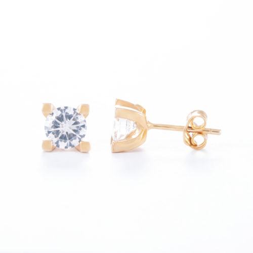 Our Gold Cubic Zirconia Stud Earrings. Shown here set with a beautiful sparkling CZ, plated over 925 sterling silver. In short, this little pair of gems are the perfect gift for someone special.