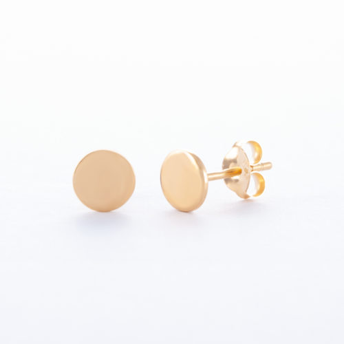Our Gold Disc Stud Earrings. Shown here in 5mm, set with a beautiful plating over 925 sterling silver. In short, this little pair of gems are the perfect gift for someone special. Or as an addition to any personal jewellery collection.