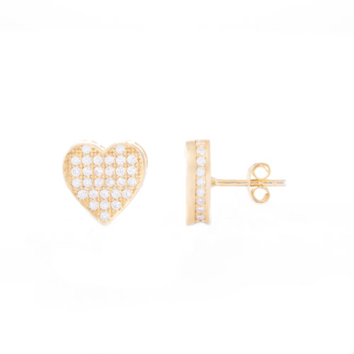Our Gold Love Heart Cubic Zirconia Stud Earrings. Shown here, with numerous small, stunning CZ on the front face and set in the frame. Beautifully plated over 925 sterling silver. In short, there's twice the love in this little pair of gems! They are the perfect gift for that special someone.