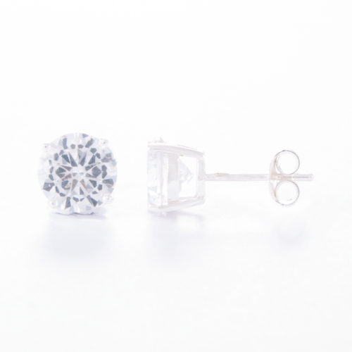 Our Large Round Sterling Silver Cubic Zirconia Earrings. Shown here with one sparkling stunning CZ and set on a 925 sterling band. A truly special look. In short, they will make the ideal gift for that someone, extra special.