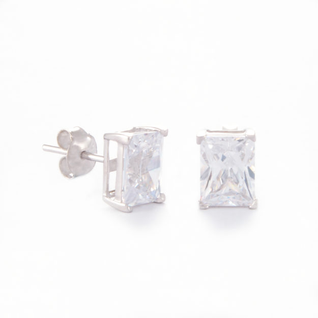 Medium Baguette Cubic Zirconia Stud Earrings