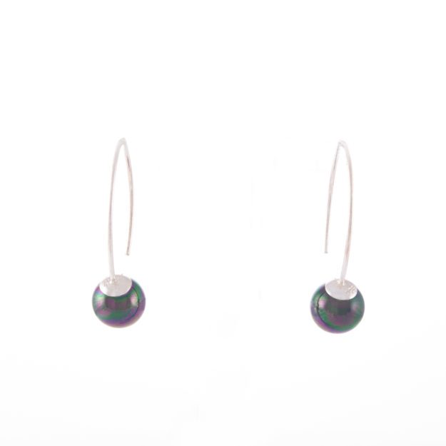 Peacock Pearl Drop Earrings 8mm