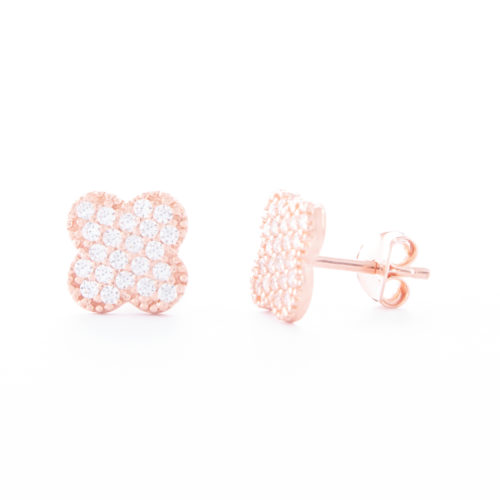 Our Rose Gold Cubic Zirconia Clover Stud Earrings. Shown here, beautifully plated over 925 sterling silver. With multiple small, sparkling CZ on the four-leaved face. In short, there's lots of luck in this little pair of gems! They are the perfect gift for someone special.