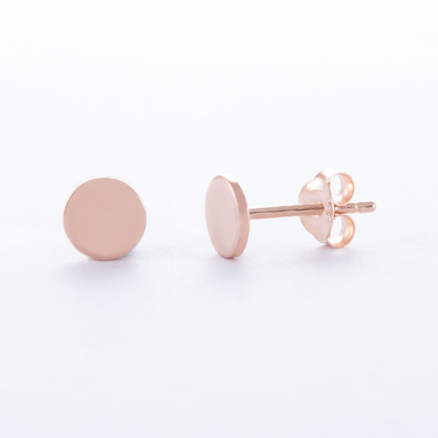 Rose Gold Disc Stud Earrings