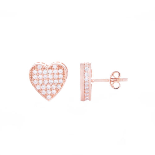 Our Rose Gold Love Heart Cubic Zirconia Stud Earrings. Shown here, with multiple small, sparkling CZ on the front face as well as set in the frame. Beautifully plated over 925 sterling silver. In short, there's double the love in this little pair of gems! They are the perfect gift for someone special.