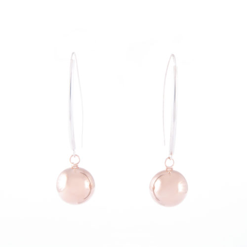 Our Rose Gold Ball Drop Earrings. Shown here, plated over hand-made 925 sterling silver. In short, this stunning pair of elegant little gems are full of style. The ideal addition to any jewellery collection. Or the perfect gift for someone extra special.