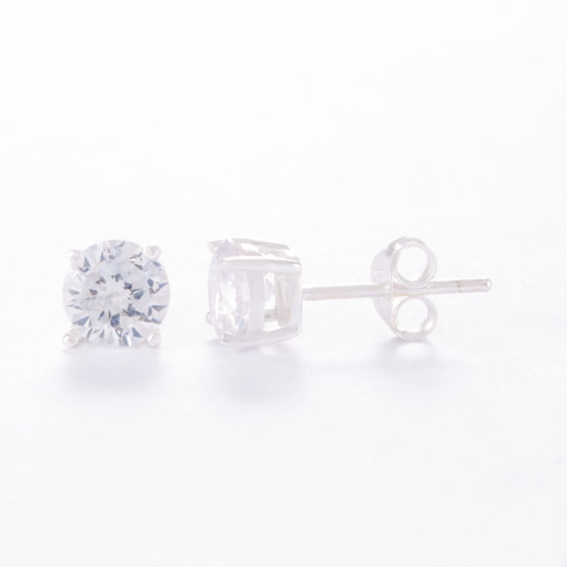 Small Round Sterling Silver Cubic Zirconia Stud Earrings
