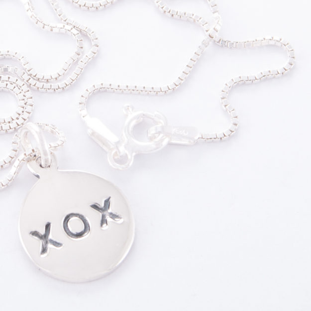 Sterling Silver Box Chain Kiss Hug Disc Necklace