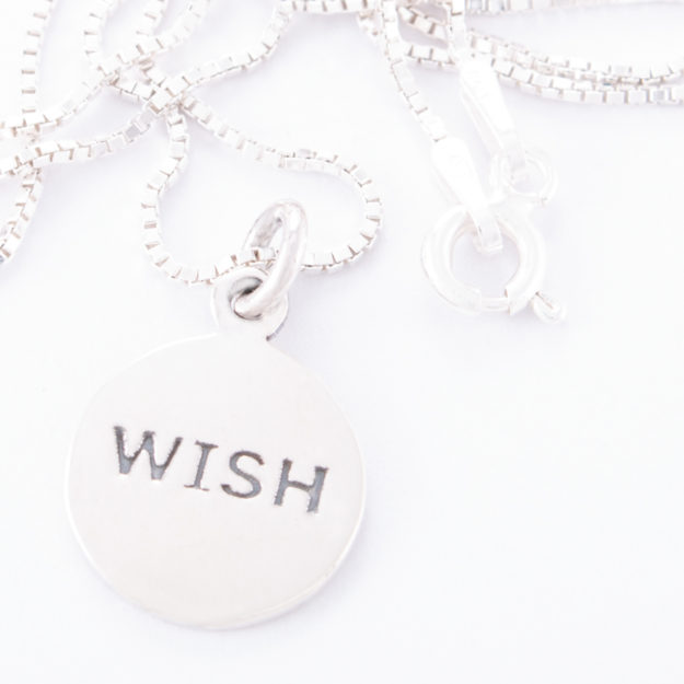 Sterling Silver Box Chain Wish Disc Necklace