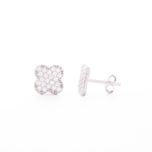 Our Sterling Silver Cubic Zirconia Clover Stud Earrings. Shown here, set in 925 sterling with multiple small, sparkling CZ on the four-leaved clover face. In short, there's lots of love and luck in this little pair of gems! The perfect gift for someone special.