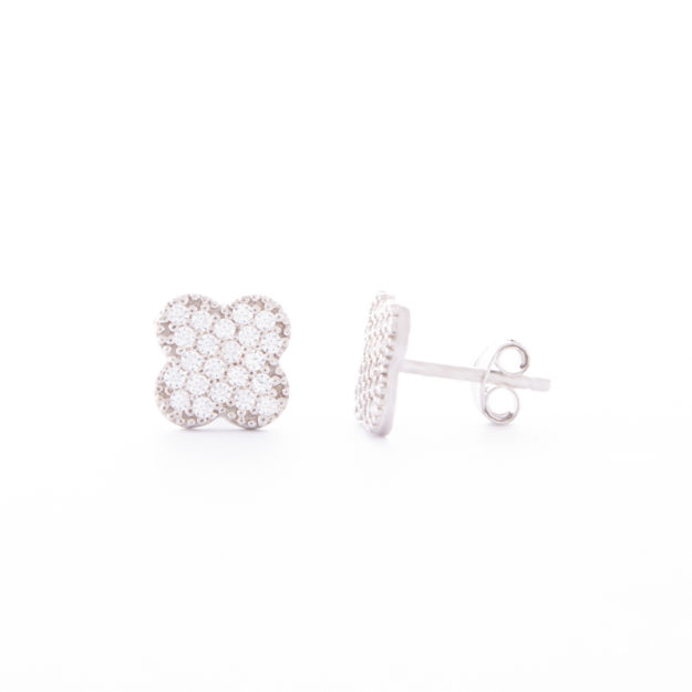 Sterling Silver Cubic Zirconia Clover Stud Earrings