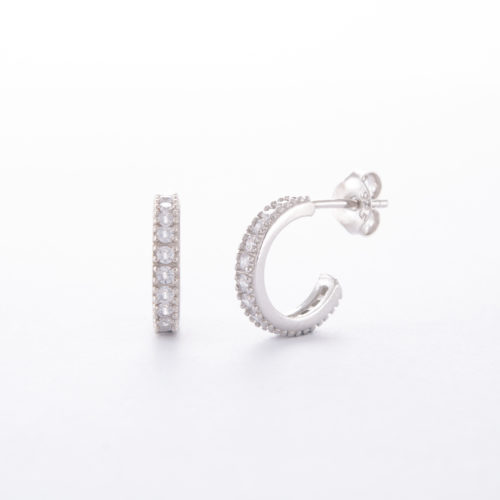 Our Sterling Silver Cubic Zirconia Eternity Hoop Earrings. Shown here with multiple sparkling CZ on the front face. As well as, finished in a stunning 925 sterling. In short, this amazing pair of little gems are full of fun. They're the perfect gift idea for someone special. Or the ideal addition to any personal jewelry box.