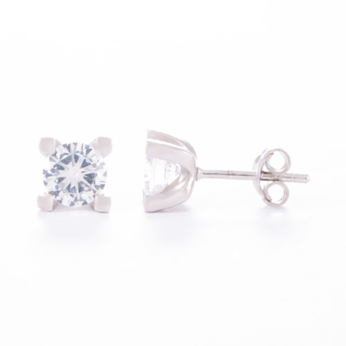 Our Cubic Zirconia Stud Earrings. Shown here, with a beautiful sparkling CZ, set in 925 sterling silver. In short, this pair of little gems make a are a perfect gift for someone special.