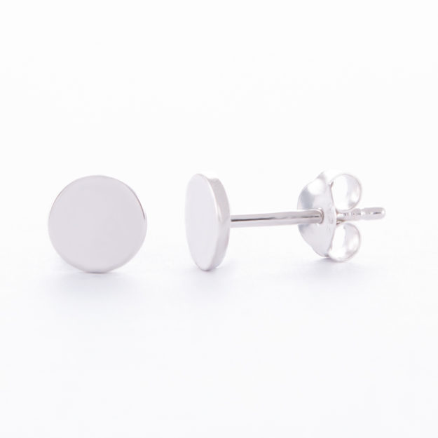 Sterling Silver Disc Stud Earrings