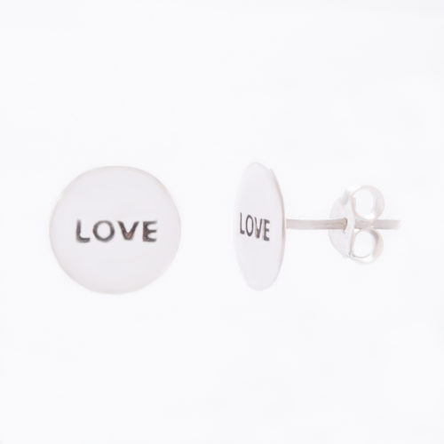 "Our Sterling Silver Love Disc Stud Earrings. Shown here, with a stamped 10mm disc in stunning 925 sterling. In short, there's plenty of ""LOVE"" in this pair of little gems. They make a perfect special gift for someone extra special."